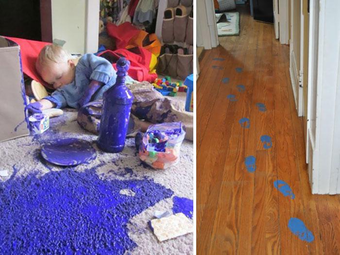 малыш уснул рисуя на ковре