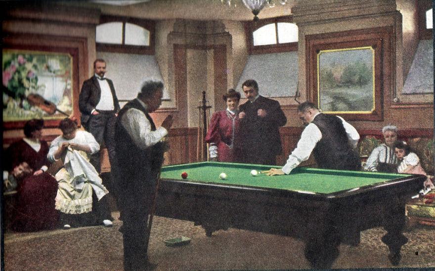 Братья Люмьер.Игра в бильярд, 1907 г.