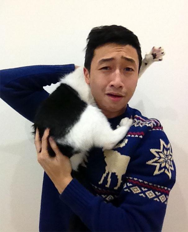 селфи вместе с кошкой