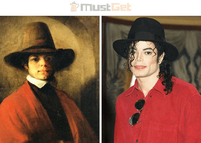 Портрет молодого человека и Майкл Джексон