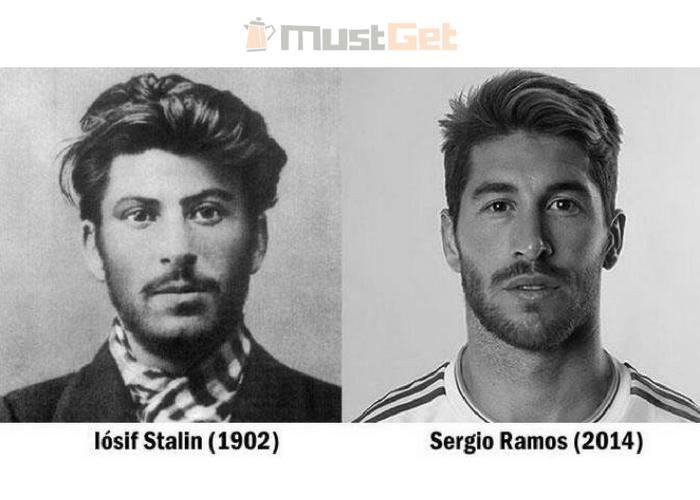 Иосиф Сталин и испанский футболист Серхио Рамос